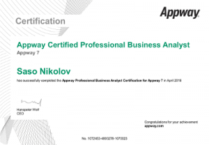 Appway7 ProfessionalBACertification - SasoNikolov